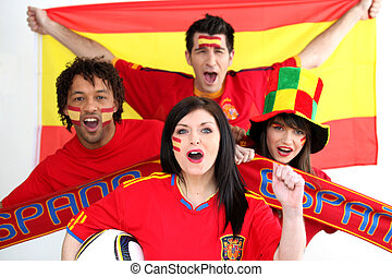 A group of people show their support of the Spanish football team