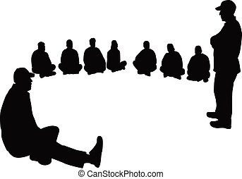 a group of people, silhouette vector