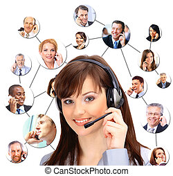A group of people talking on the phone