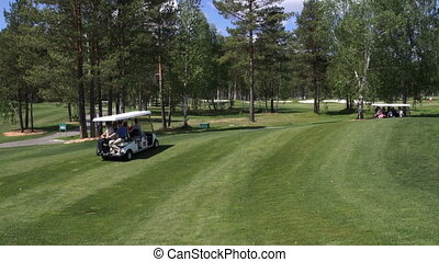 A group of people traveling by car on a Golf course