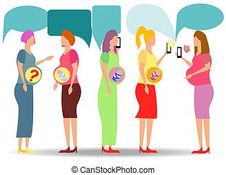A group of pregnant women looking for answers in smartphones. question answer online doctor