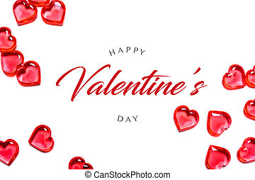 A group of red hearts on a white background. Happy Valentine's day greeting