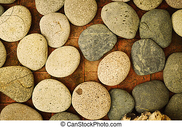 a group of rock on a floor