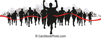 runners - a group of runners coming through the red tape