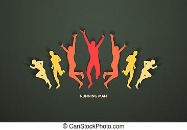 A group of runners. Design for sport and business. Sport concept. Vector illustration.