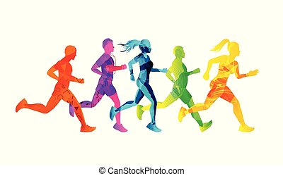 A Group of Running Men And Women