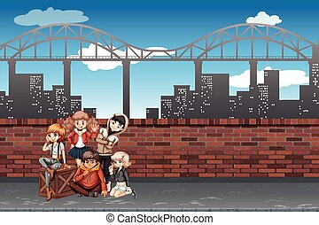 A group of teenagers in urban scene