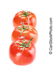 A group of three tomatoes on white background