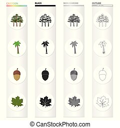 A group of trees in the forest, a palm tree, an acorn, a maple leaf. Forest set collection icons in cartoon black monochrome outline style vector symbol stock illustration web.