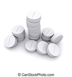 a group of white tablets on white background