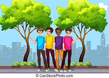 A Group of Young Men Hanging Out  illustration