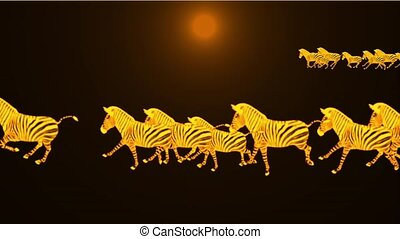 a group of zebra running in dusk.