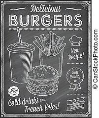 Grunge Chalkboard Fast Food Menu Te