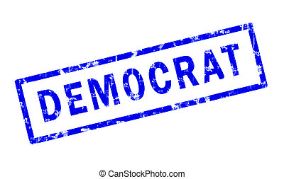 A grunge stamp of the word Democrat
