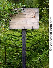 Overgrown Wooden Sign