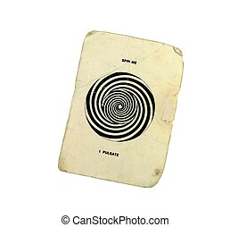 "A grungy worn vintage card with a black and white spiral that says ""Spin Me"" and ""I Pulsate"" isolated on white with a clipping path"