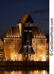 a, guindaste, à noite, em, gdansk