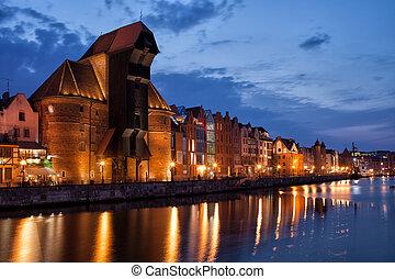 a, guindaste, e, rio, vista, de, gdansk, cidade velha