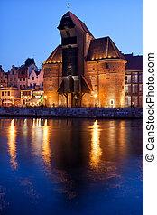 a, guindaste, em, cidade, de, gdansk, à noite