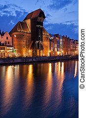 a, guindaste, em, cidade velha, de, gdansk, à noite