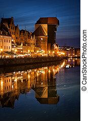 a, guindaste, em, cidade velha, de, gdansk, por, noturna