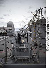 a gun aboard naval vessel