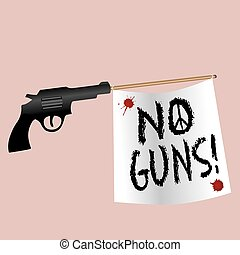 A gun shooting no gun flag with bloodstains and a peace sign