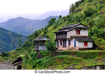 A gurung village in the Annapurna Sanctuary trail. Himalayas...