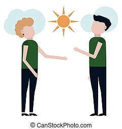 A guy and a girl are admiring the sunny day vector ...
