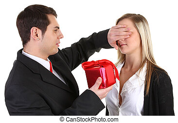 A guy giving a girl a present