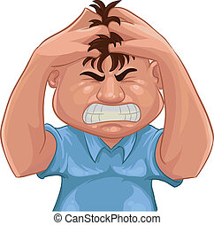 angry - A guy grabbing his hair with angry