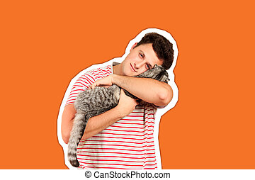 a guy holding a Scottish cat in his arms and feels caressing from him. emotional man isolated Magazine collage style with trendy color
