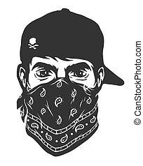 A guy in a baseball cap and bandana. Vector illustration.