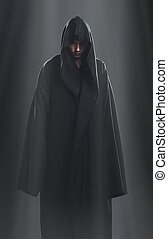 a guy in a black robe standing in the dark under the rays of...