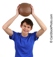 A guy with a training ball