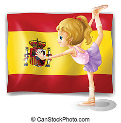 A gymnast in front of the Spanish flag
