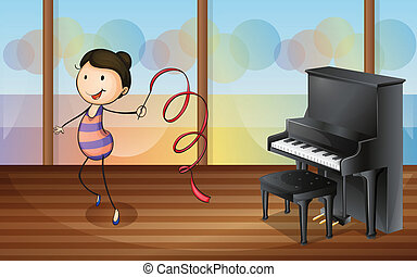 A gymnast inside the music room