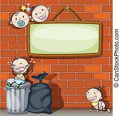 a, hängender , leerer , tafel, mit, säuglinge