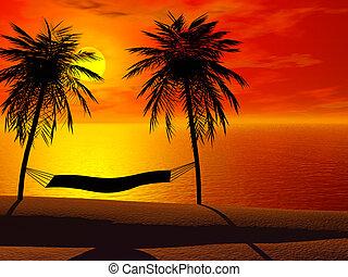 a, hängmatta, in, solnedgång