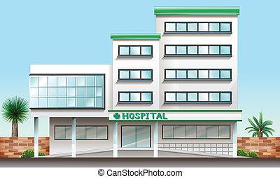 a, hôpital, bâtiment