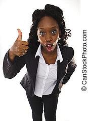 a, hübsch, afrikanischer amerikaner, unternehmerin, mit, daumen hoch
