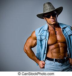 a, hübsch, mann, in, a, cowboyhut