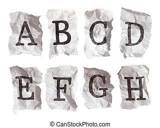 a-h, verfrommeld, brieven, --, papier, getypt, alfabet