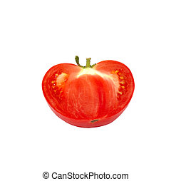 A half of fresh tomato isolated on white.