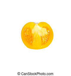 A half of fresh yellow tomato isolated on white.