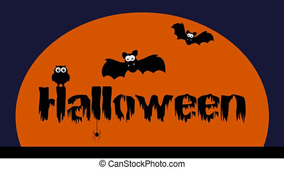 a Halloween animation with bat owl and spider - animation