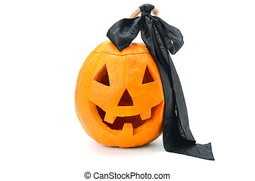 halloween pumpkin (Jack-o'-lantern) isolated on white background