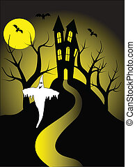 A halloween vector illustration with a ghost in front of a...