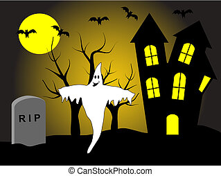 A halloween vector illustration with a happy ghost in front...