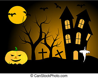A halloween vector illustration with pumpkins in front of a haunted house